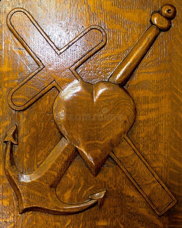 Faith - Cross, Hope - Anchor, Love - Heart royalty free stock photos