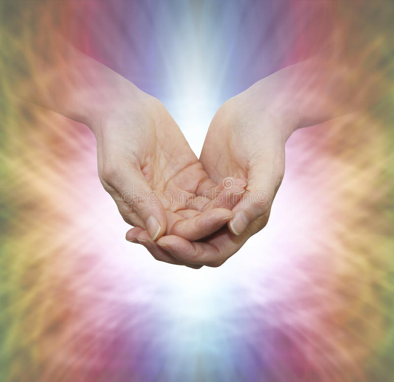 Faith Healer with Divine Light stock photos