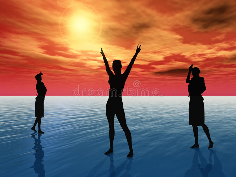 Faith, Hope, and Charity. Three people, who symbolize faith, hope and charity royalty free illustration