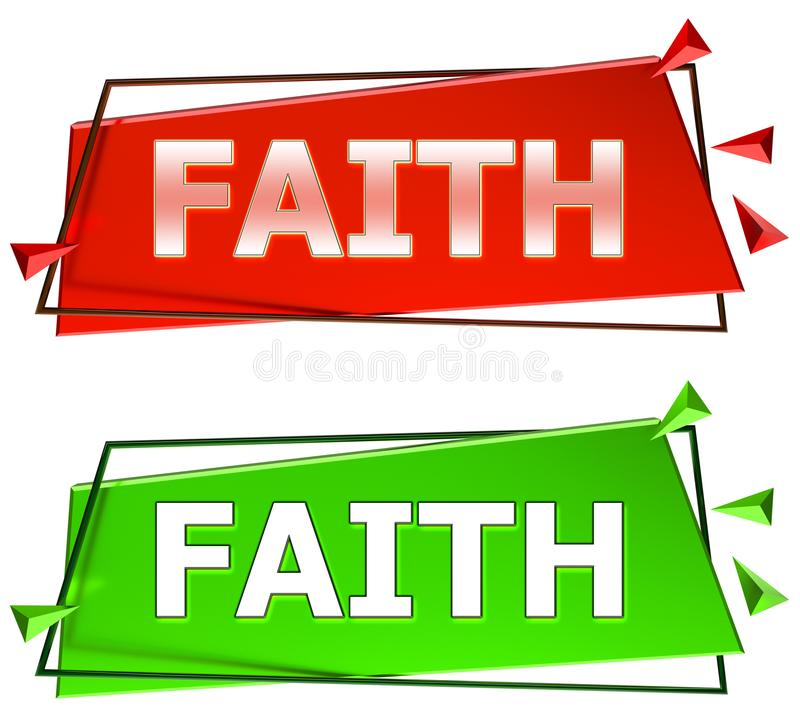 Faith sign. Faith modern 3d sign isolated on white background,color red and green royalty free illustration