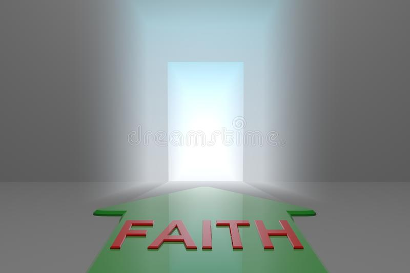 Faith to the open gate. Green arrow with faith word front of the open gate , 3d rendered royalty free illustration