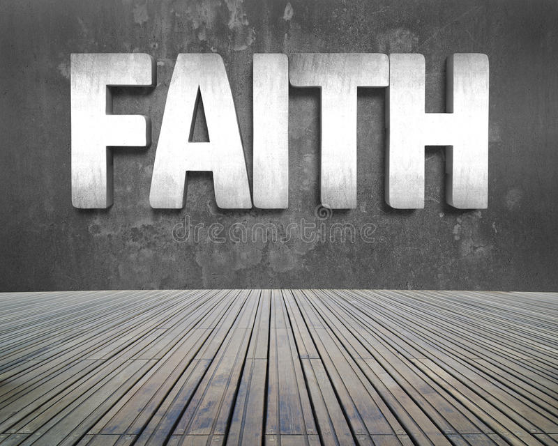 Faith word on concrete wall with wooden floor royalty free stock image