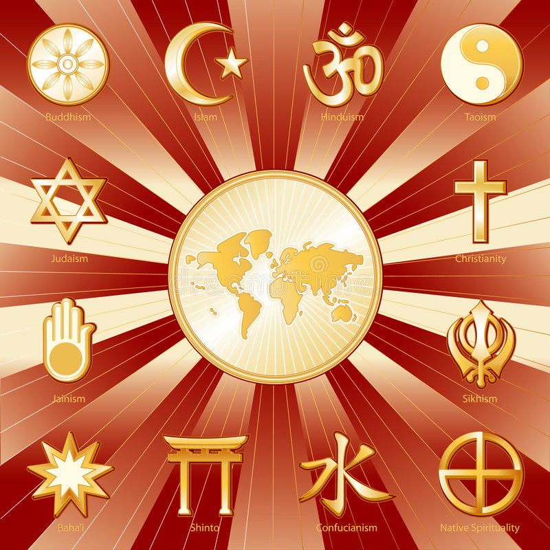 faiths many one world иллюстрация штока