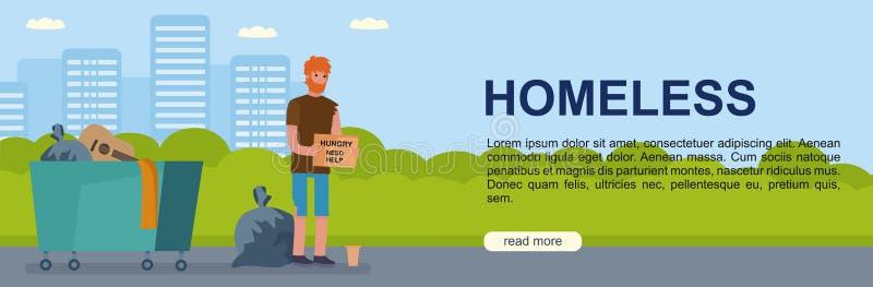 Faixa com ilustrações de pobre e sem-teto. conceitos de ilustração vetorial para website e website móvel ilustração do vetor