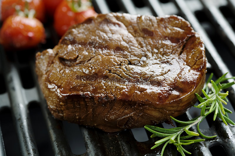 Faixa da carne na grade foto de stock