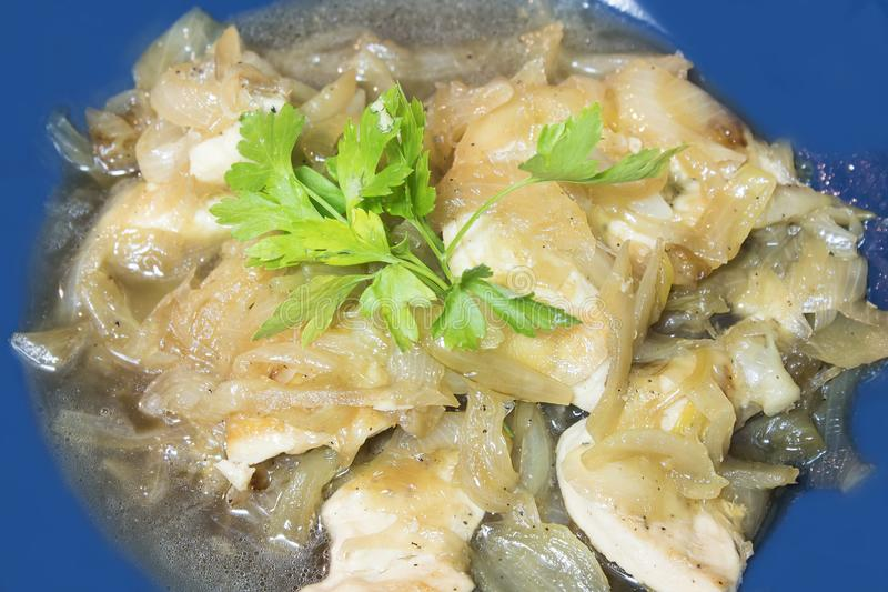 Faixa da galinha com cebolas caramelizadas imagens de stock
