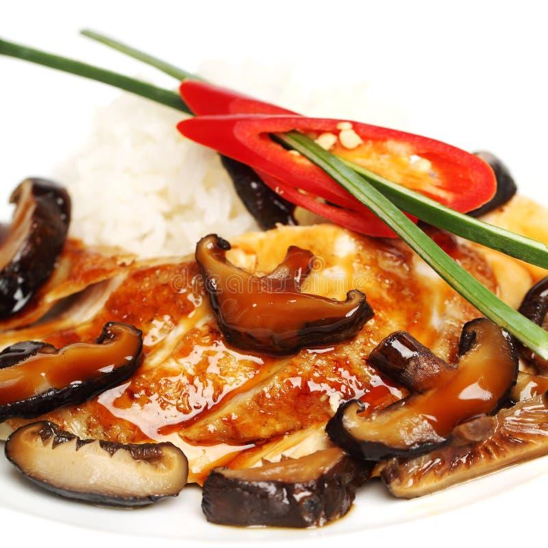 Faixa da galinha e cogumelos, alimento gourmet foto de stock
