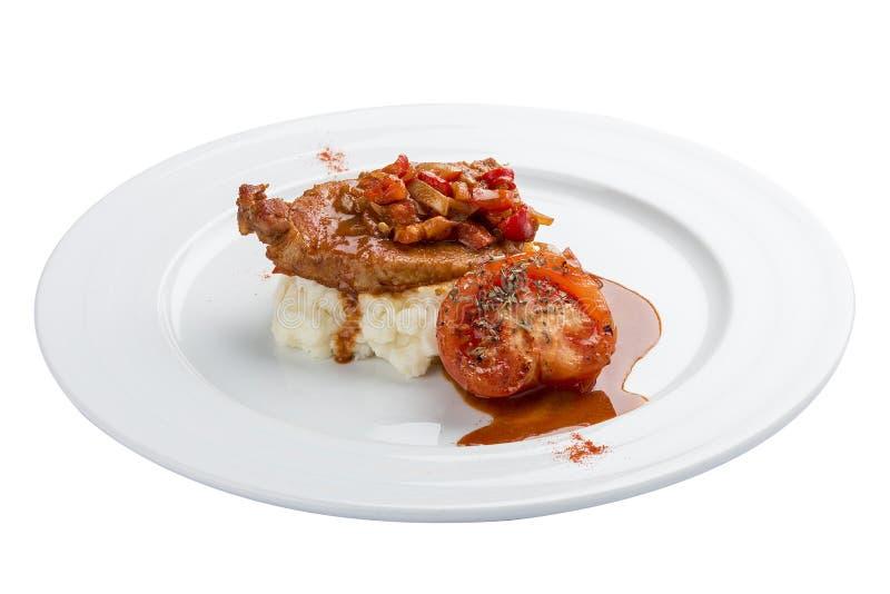 Faixa da galinha no molho do agridoce com arroz e vegetais fotografia de stock royalty free