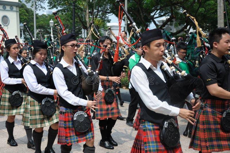 Faixa da música da gaita de fole do dia do ` s de St Patrick fotografia de stock