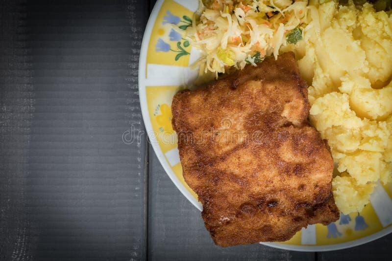 Faixa de bacalhau fritada foto de stock royalty free