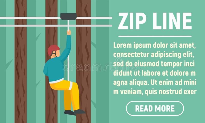 Faixa de conceito de linha de zip de parque, estilo plano ilustração stock