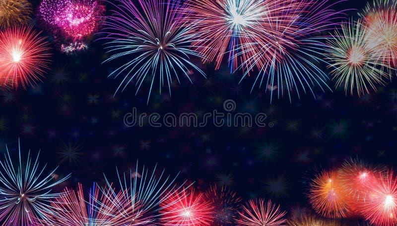 Faixa de fundo do Fireworks Colorido Brilhante fotos de stock