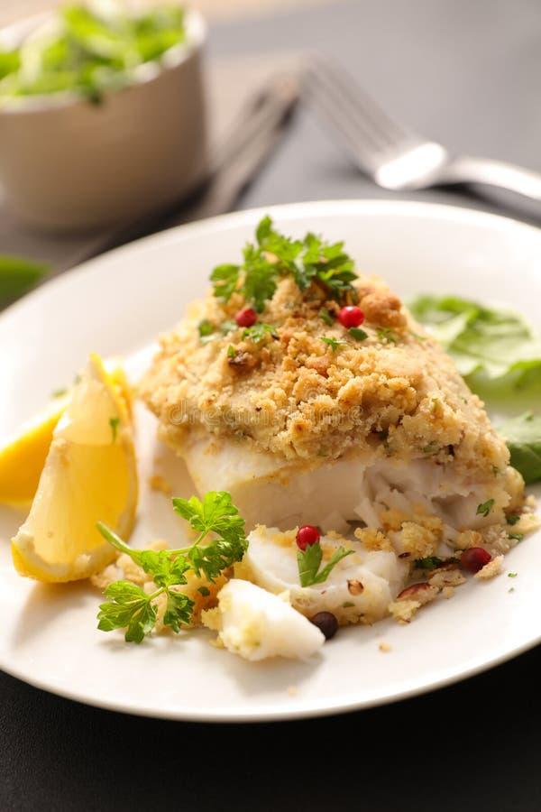 Faixa de peixes cozinhada com crosta foto de stock