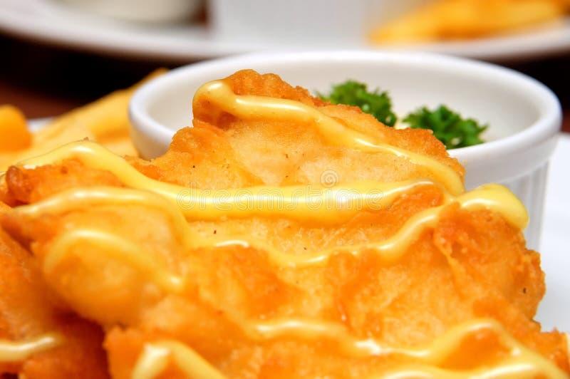 Faixa de peixes fritada fotografia de stock royalty free