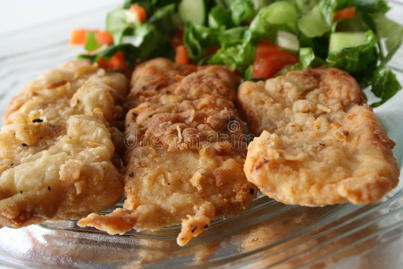 Faixa de peixes fritada no prato imagem de stock