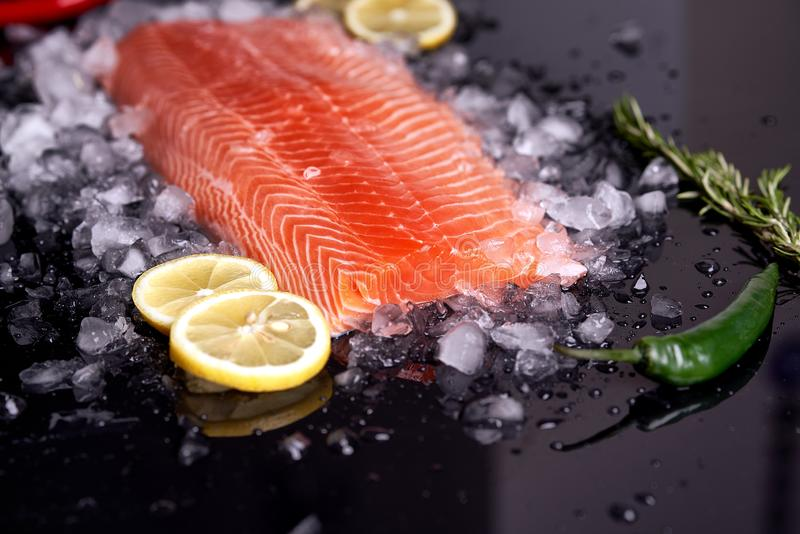 Faixa de peixes vermelhos em 45 graus que encontram-se em um fundo escuro com fatias de lim?o, de alecrins e de piment?o verde Vi imagens de stock royalty free