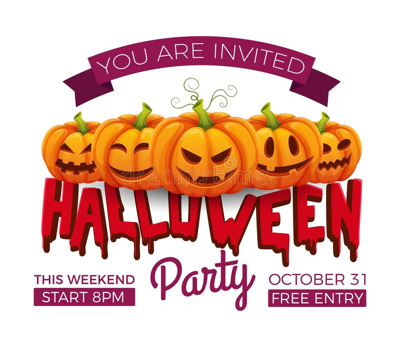 faixa do Dia das Bruxas modelo de vetor de convite da parte em 31 de outubro Abóboras de Halloween com caras engraçadas e assusta ilustração royalty free