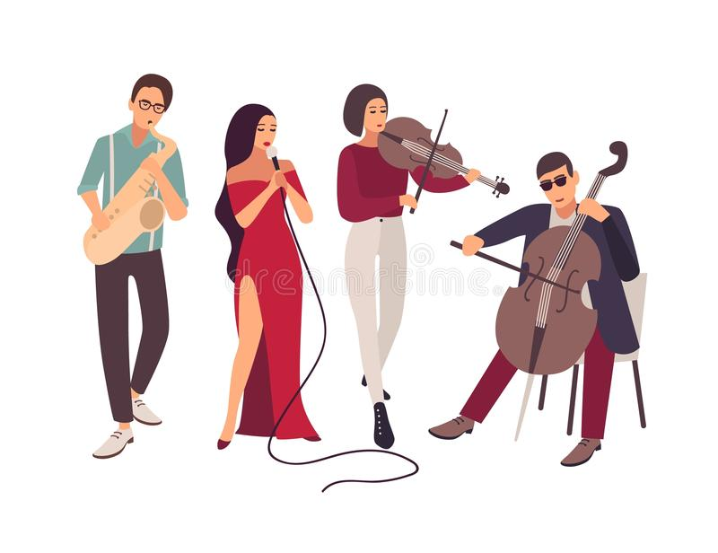 Faixa do jazz ou da música dos azuis que executa na fase durante o concerto Homens elegantes e mulheres que cantam a música e que ilustração do vetor