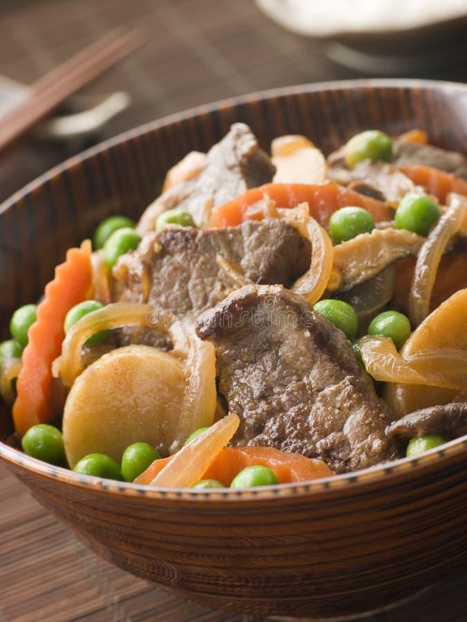 Faixa e vegetais cozidos a fogo brando da carne fotografia de stock