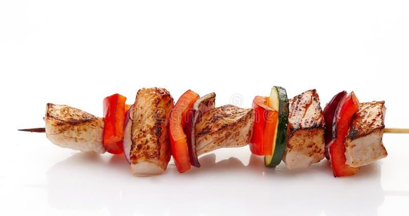 Faixa e vegetais grelhados da carne de porco imagens de stock