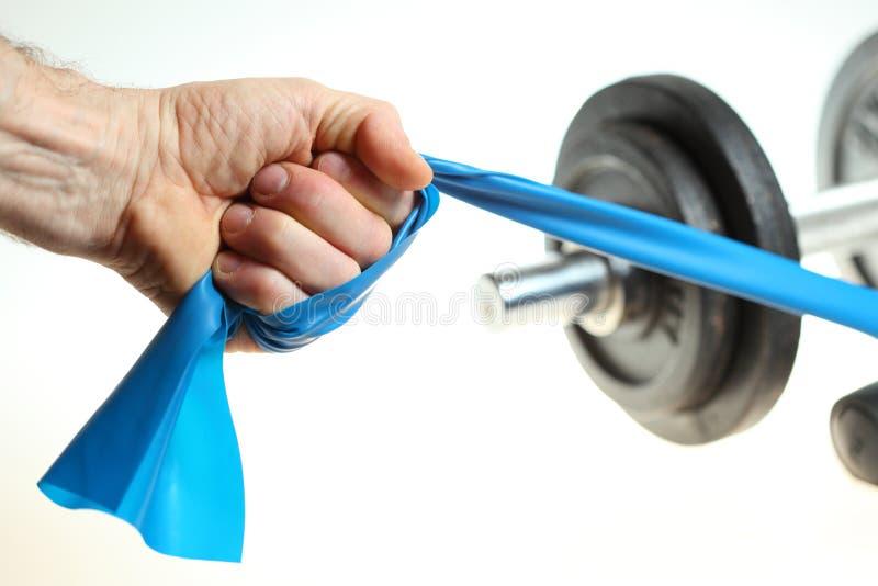 Faixa elástica azul fotografia de stock