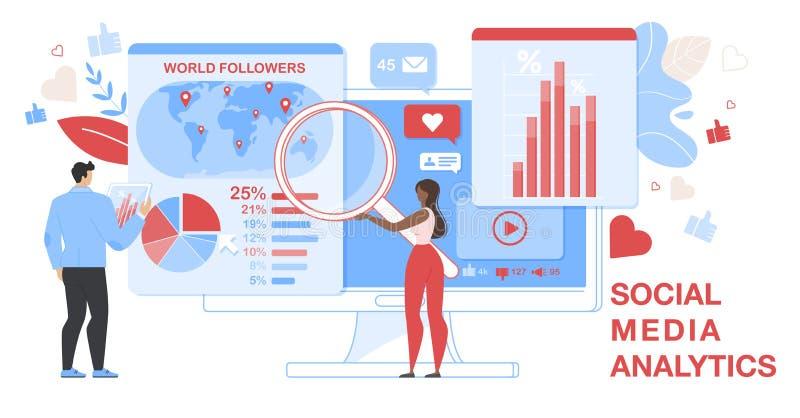 Faixa Horizontal do Social Media Analytics. Analítico ilustração do vetor