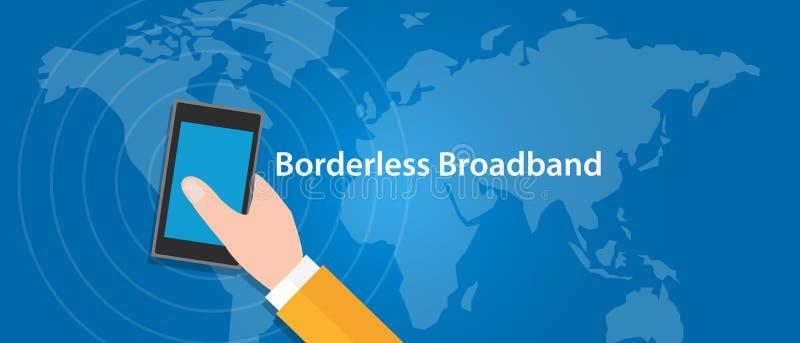 A faixa larga sem fronteira 5G conecta o eveywhere em todo o mundo ilustração stock
