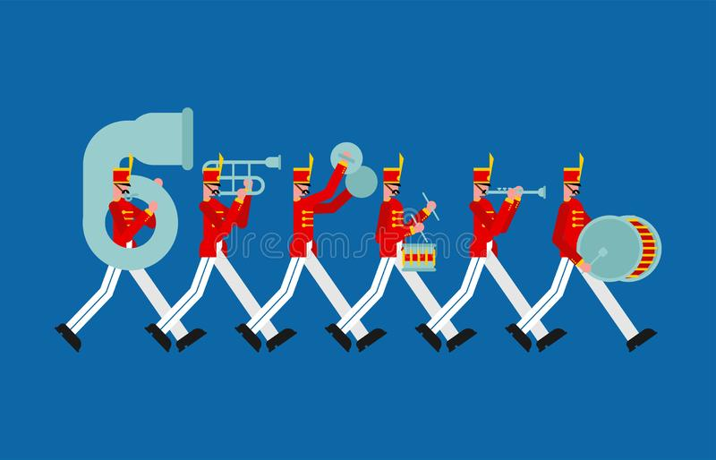 Faixa militar Soldados com instrumentos musicais homem recrutado e cilindro ilustração do vetor