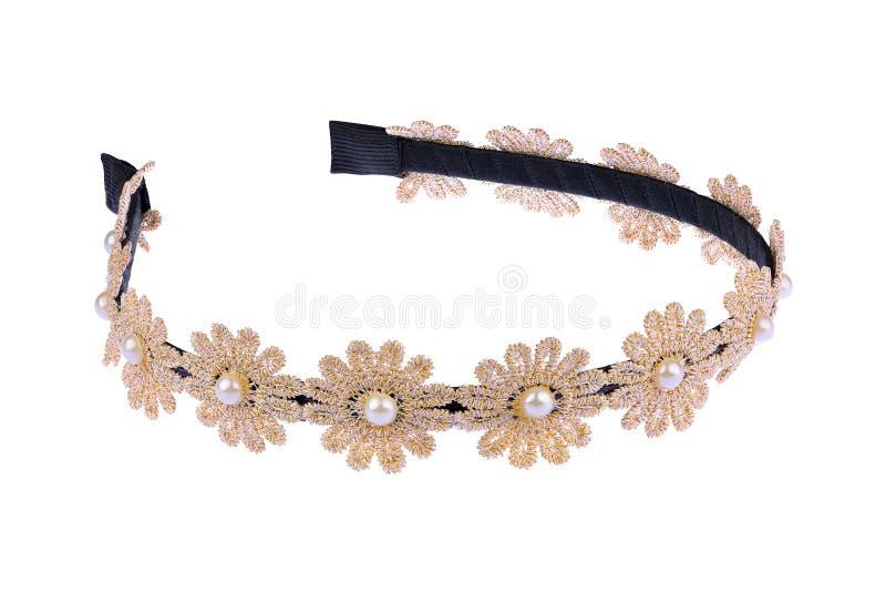 Faixa preta metálica e de matéria têxtil com as flores bege e douradas de matéria têxtil e as pérolas bonitas, artigo da forma is fotos de stock