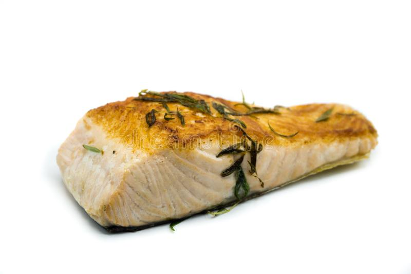 Faixa salmon Roasted decorada isolada no fundo branco fotografia de stock royalty free