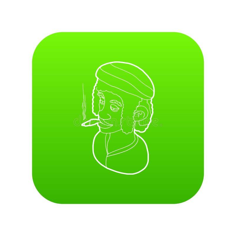 Faixa vestindo do homem de Rastafarian e vetor de fumo do verde do ícone ilustração royalty free