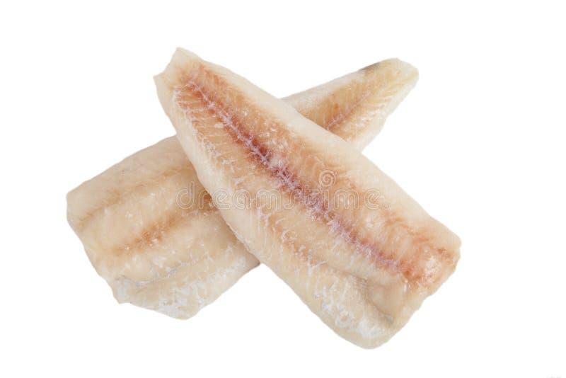 Faixas de bacalhau congeladas sem pele isolada no fundo branco fotos de stock