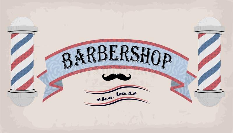 Faja o tabla del letrero de la muestra del logotipo del cartel para el peluquero, coiffeur, peluquero, barbería retra de la inscr stock de ilustración