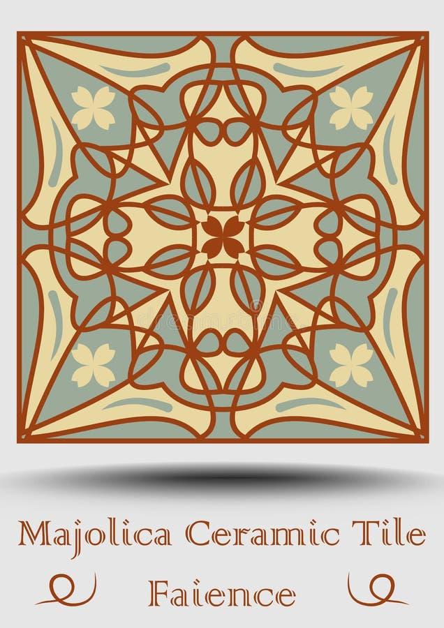 Fajanskrukmakeritegelplatta i beiga, olivgrön gräsplan och röd terrakotta Keramisk majolica för tappning Traditionell spansk kruk stock illustrationer