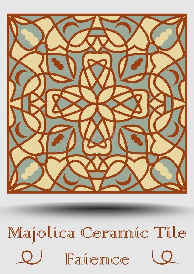 Fajanskrukmakeritegelplatta i beiga, olivgrön gräsplan och röd terrakotta Mångfärgad keramisk majolica Tappningspanjorkrukmakeri vektor illustrationer
