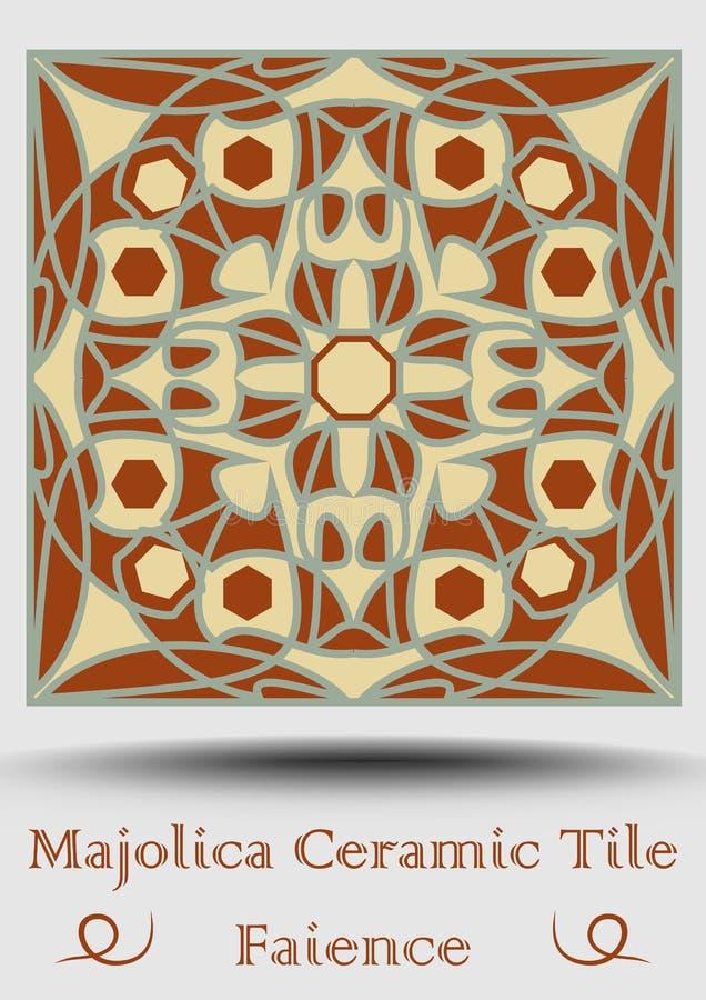 Fajanstegelplatta Dekorativ keramisk tegelplatta i beiga, olivgrön gräsplan och röd terrakotta Tappningstilmajolica Traditionell  royaltyfri illustrationer