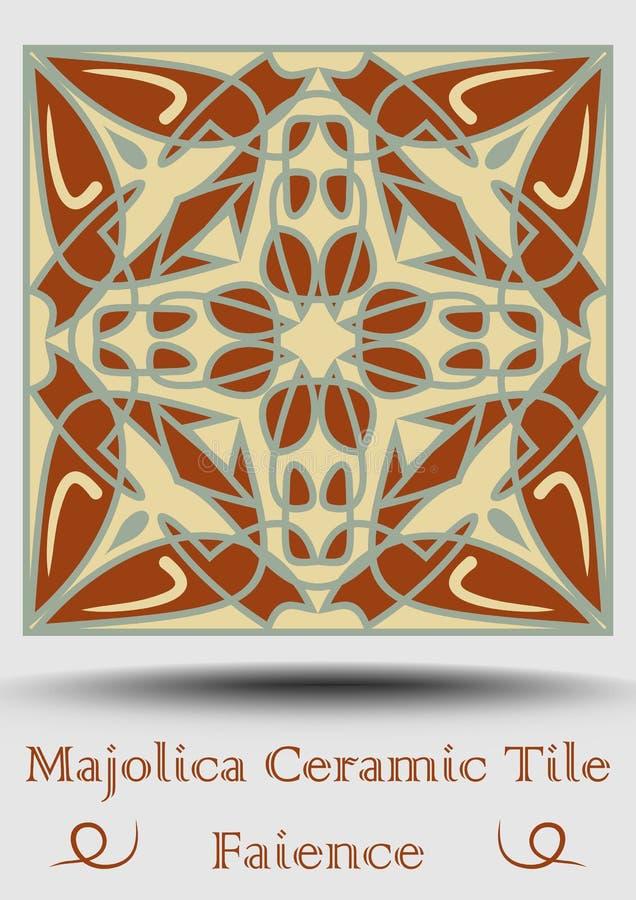 Fajanstegelplatta Keramisk tegelplatta i beiga, olivgrön gräsplan och röd terrakotta Keramisk majolica för tappning Traditionella vektor illustrationer