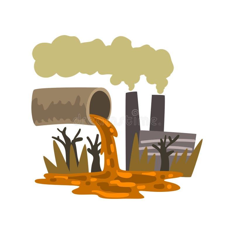 Fajczany dolewanie za przemysłowym odpady, ekologiczna katastrofa, zanieczyszczenie środowiska pojęcie, wektorowa ilustracja na b royalty ilustracja