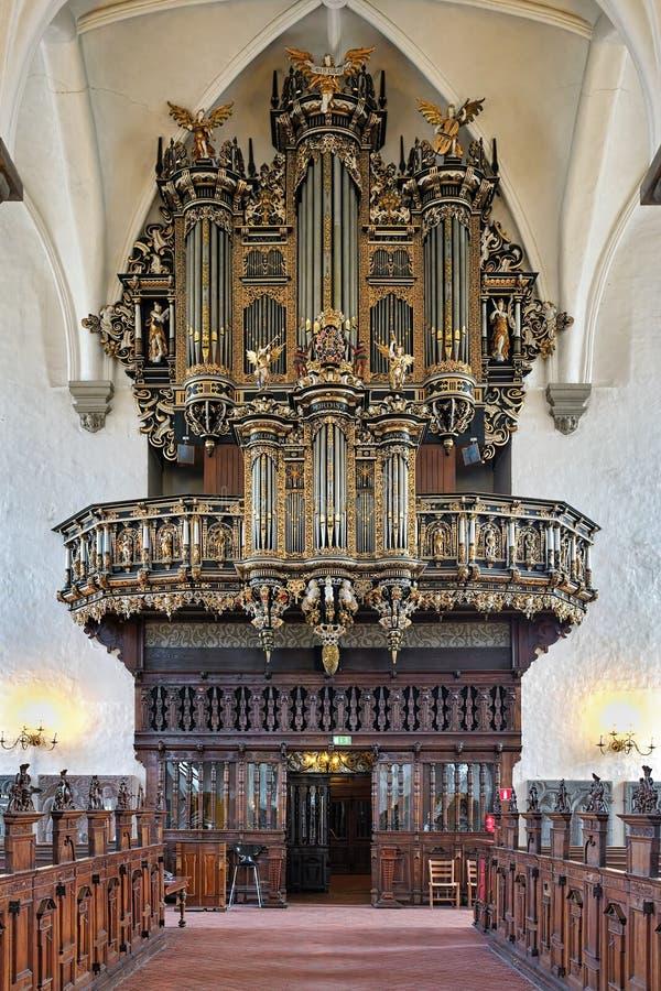 Fajczany organ kościół Święta trójca w Kristianstad, Szwecja fotografia stock