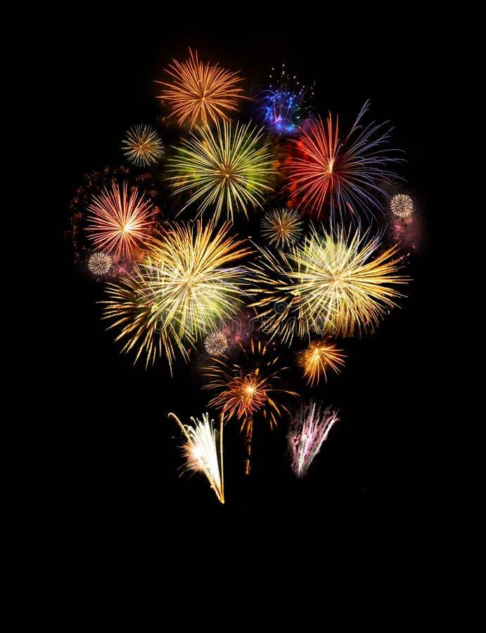 Fajerwerków wybuchy na czerni obraz royalty free