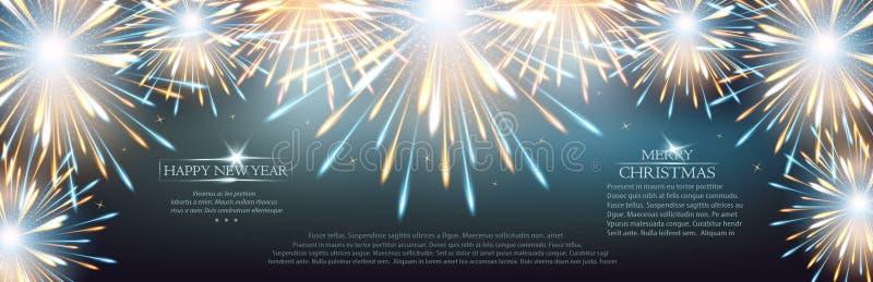 Fajerwerków wybuchy obramiają tło na kartce z pozdrowieniami Szczęśliwy nowy rok ilustracja wektor