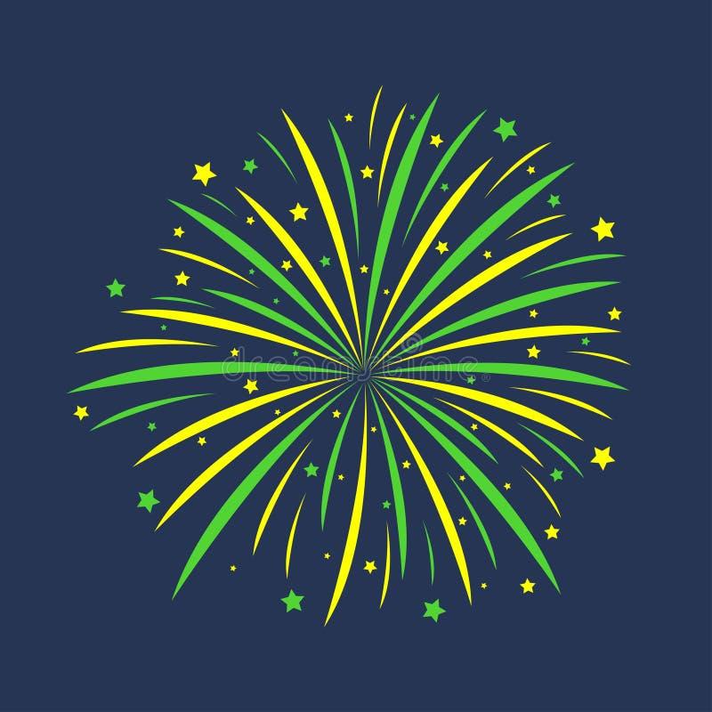 fajerwerk Świąteczny pękać, świętowanie salut, rocznicowy wybuch odizolowywający na ciemnym tle wektor royalty ilustracja
