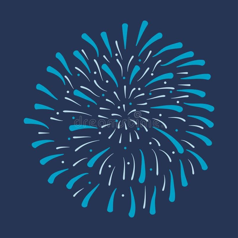 fajerwerk Świąteczny pękać, świętowanie wybuch, rocznicowy salut odizolowywający na ciemnym tle wektor ilustracji