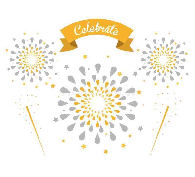 Fajerwerk gratulacje i świętowania ilustracja wektor