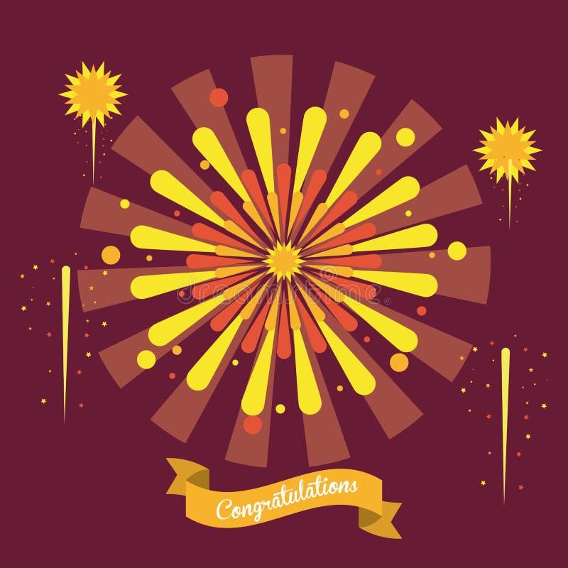 Fajerwerk gratulacje i świętowania ilustracji
