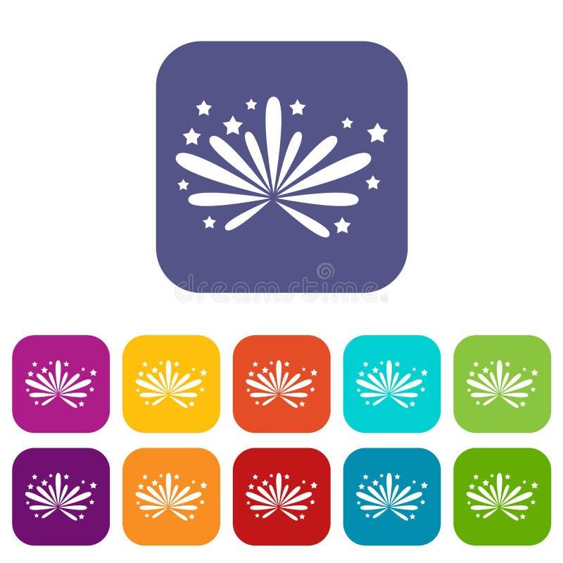 Fajerwerk ikony ustawiać ilustracja wektor