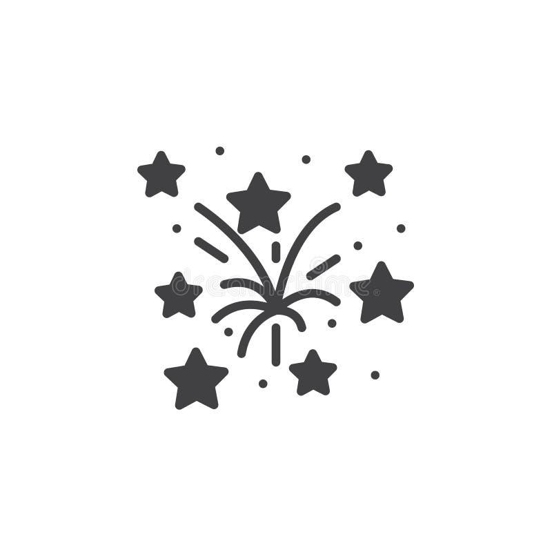 Fajerwerk ikony wektor, wypełniający mieszkanie znak, stały piktogram odizolowywa ilustracji