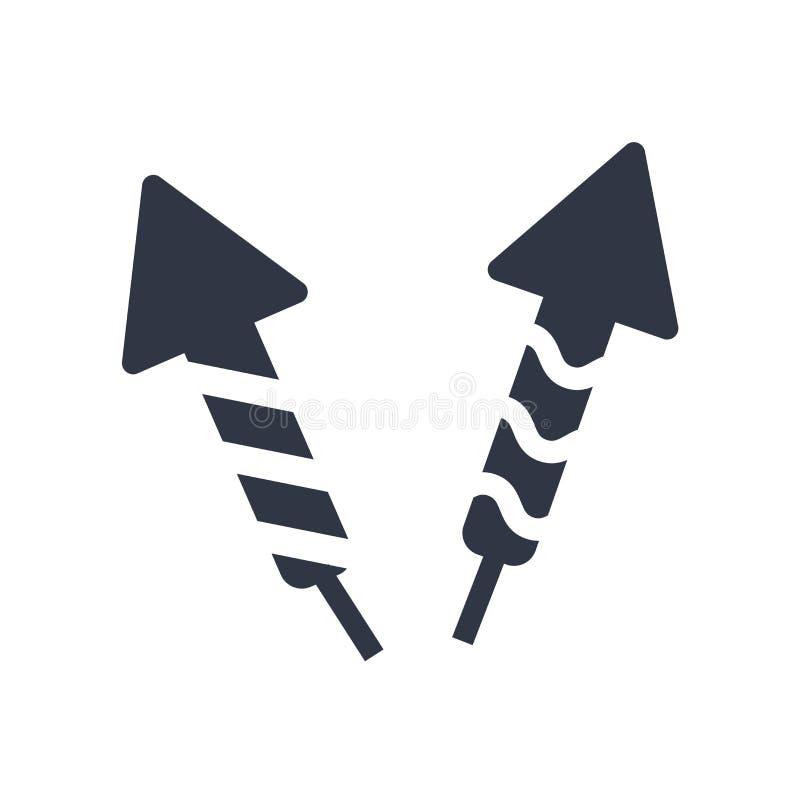Fajerwerk ikony wektoru rakietowy znak i symbol odizolowywający na białym tle, fajerwerku logo rakietowy pojęcie royalty ilustracja