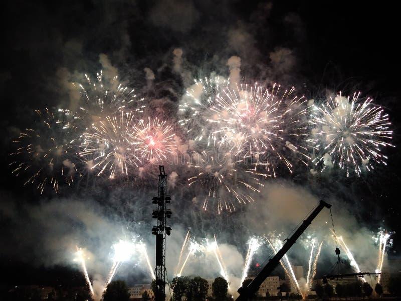 Fajerwerk nad Linz obrazy royalty free