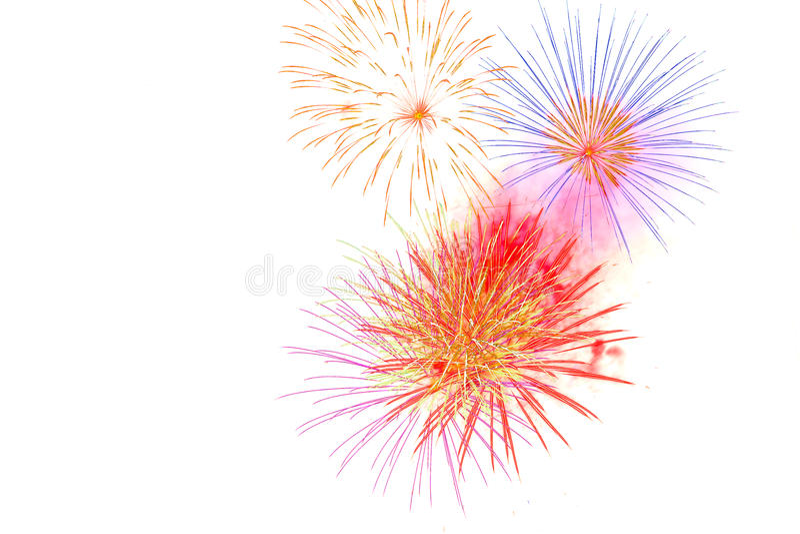 fajerwerk odizolowywający na białych tło fajerwerku świętowania brzęczeniach obraz stock